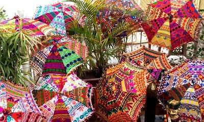 Embroidered Handmade Beautiful Parasols Home Garden-Decor 10 Pcs Wholesale-Lot