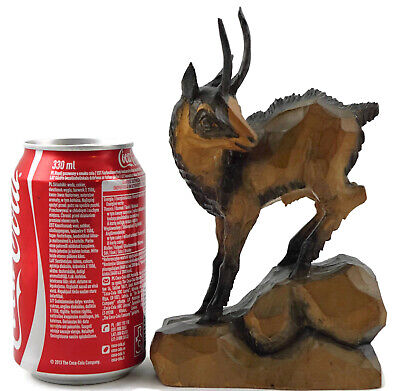 Vintage BLACK FOREST German Hand Wood Carved Figure of Chamois Gams Sheep animal