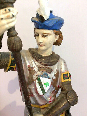 Large Heraldic Antique Metal Figure, Beautifully Painted, Standing 35cms Tall