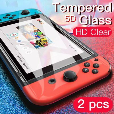 2X for Nintendo Switch Console 5D PREMIUM TEMPERED GLASS Screen Protector Cover