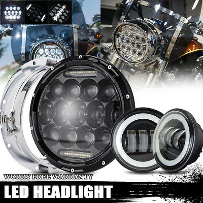"7""Inch Harley Black Housing LED Headlight Kit + 4.5Inch Passing Lamps"