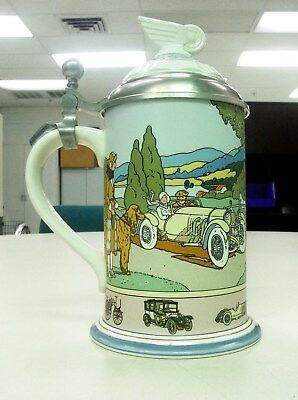 Mettlach 100 Anniversary Mercedes BenzCar Stein With Certification - Nmint!