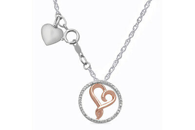 1/7 CT Genuine Diamond 14K Rose Gold Over Sterling Silver Heart Pendant Necklace