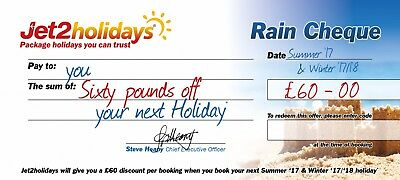 New Jet2Holidays £60 Rain Cheque voucher Valid until March 2020!! X 15 Vouchers