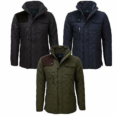 Soul Star Mens Quilted Jacket Diamond Quilted Pattern On Outside