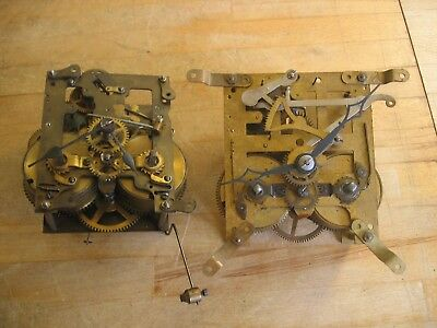 Two Vintage Mantle Clock Mechanical Clock Movements - Spares or Repair