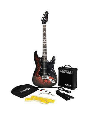 Jaxville Demon ST Style Electric Guitar Pack with Amp, Gig Bag, Strings, St... .