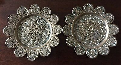 A pair of antique Persian copper enameled sweet meat dishes