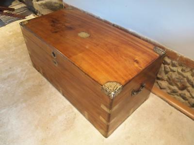 Chest coffer coffee table trunk Camphor wood Military Campaign c1860