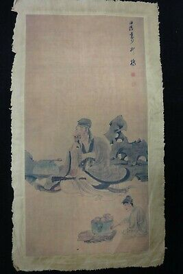 Very Vintage Fine Large Chinese Paper Painting Vivid Figures Marks