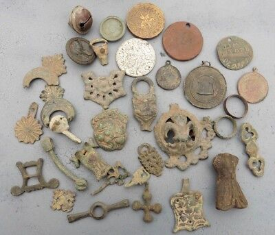 Collection Medieval And Post Artifacts Coins Medals Rings