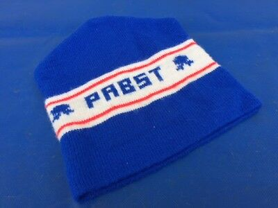 Vintage Pabst Blue Ribbon PBR Beer Logo Blue Red Winter Knit Beanie Stocking Cap