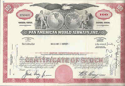 344t *PAN AMERICAN WORLD AIRWAYS INC.*HISTORISCHE AKTIE* 1969 ÜBER 100 SHARES