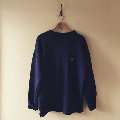 Vintage Style Fred Perry Guernsey Woollens Knit Navy Wool Jumper Sweater 46 XL
