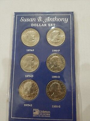 Complete 2-Year Uncirculated Set Susan B. Anthony U.s. Dollar Coins 79-80 Pds