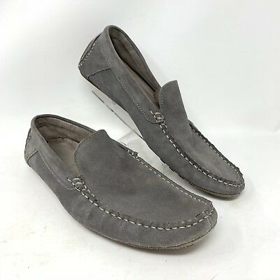 Calvin Klein Men s 10M Deauville Gray Suede Leather Slip-on Driving Mocs  Shoes e5a0ef6539e