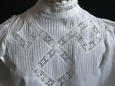 Stunning Antique White Blouse ~ Pin Tucks/bobbin Lace/buttons At Back