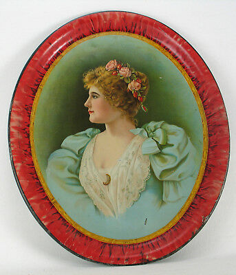 Tin Lithograph Beer Tray with a Beautiful Victorian Lady