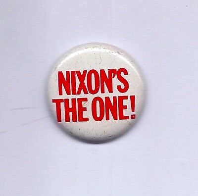 """Nixon's The One!"" 1968 Pinback  Richard Nixon Presidential Campaign  Republican"