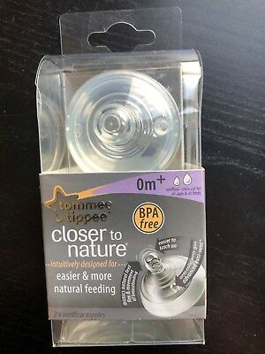 Tommee Tippee Closer to Nature Easi-Vent Variflow Nipples, Set of 2 Clear - NEW