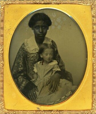 RARE Cuttings Patent Ambrotype AFRICAN AMERICAN NANNY Holding Mesmerizing Charge