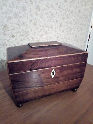 Antique Victorian sarcophagus shaped tea caddy with two compartments.