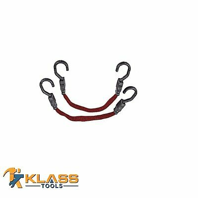 """15"""" Inch Heavy Duty Flat Bungee Cord / Tie Down  with Plastic Coded Hooks"""