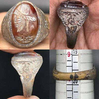 Wonderful Roman face intaglio Rare Lovely Old agate Ring