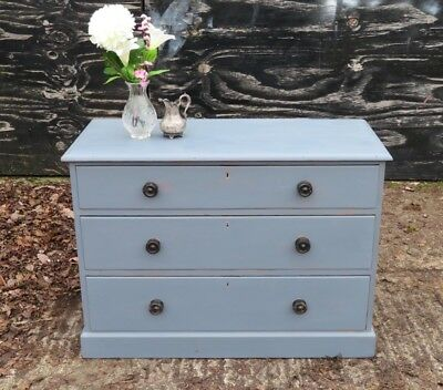 Antique   Pine Chest Of Drawers Painted Grey/blue
