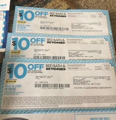 BED Bath & Beyond * (4)$10 Off $30 Plus (11) 20/10% Off Coupons