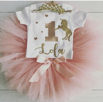 Girls Personalised 1st First Birthday Unicorn Outfit Tutu Skirt Cake Smash Blush