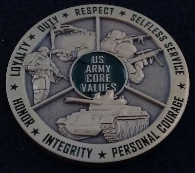 LDRSHIP US Army Core Values USA Loyalty Duty Honor Courage Tank Challenge Coin