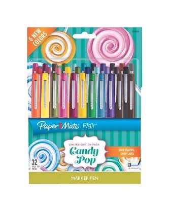 Paper Mate Flair Felt Tip Pens, Medium Point (Candy Pop Colors), 32-count