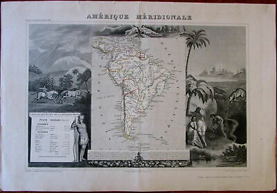 South America continent scenic decorative c.1840 Levassseur Indian old map