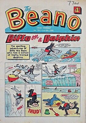 BEANO - 8th JUNE 1968 + PUPPET FEATURE - VERY RARE & COLLECTABLE !! VGC...topper