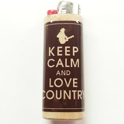 Keep Calm Love Country Lighter Case Holder Sleeve Cover Fits Bic Lighters