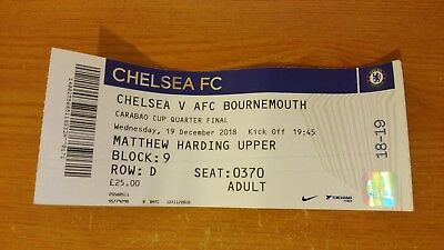 Chelsea v Bournemouth- - Carabao Cup Quarter Final - 2018/19 - Used Ticket
