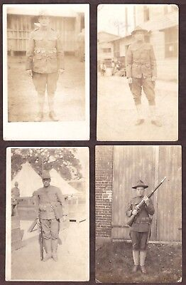 (4) Wwi Postcards - Soldiers Posing In Uniform - Used