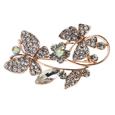 Butterfly Flower Diamond Crystal Pearls Brooch Pins Badge for Women Girls