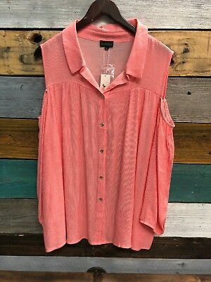 e4394e053b4a3 NEW Zenobia COLD SHOULDER Plus Size 3XL Button Down Women's Coral Shirt