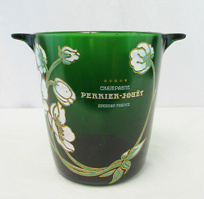Perrier-Jouet Epernay France Green Glass Champagne Bucket w/ Painted Flowers