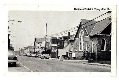 Perryville Maryland Business District Postcard Perryville Supply Autos #75125