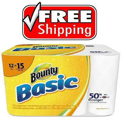 Bounty Basic Paper Towels, 1-Ply 55 sheets per roll, 12 rolls per pack **NEW***
