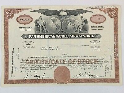 Pan American World Airways Capitol Stock 1965 Chemical Bank NY 40 Shares