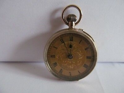 1919/1920 9ct solid gold fob pocket watch in very good condition not working.