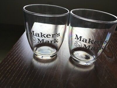 Maker's Mark Original Bourbon Low Ball Plastic 2 Cocktail Glasses. New