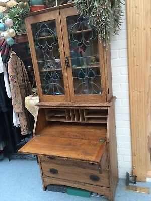 Arts & Crafts Oak Display cabinet Writing Bureau