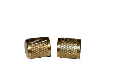 "R12 R22 R502 Brass 1/4"" Service Port Caps Gnarled Head 2 Pack #3408"
