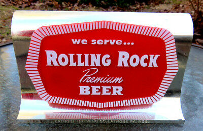 Rolling Rock Beer Small Plastic Sign Latrobe The Weiller Co. Philadelpha 34 PA
