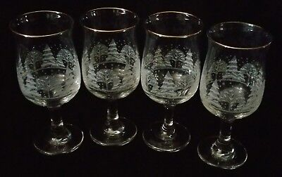 "4 Arby's Winter White Snow Scene Holiday 7"" Water Goblet Wine Glasses Gold Rims"